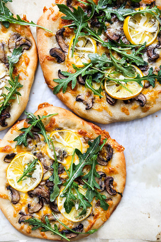 Individual Meyer Lemon, Mushroom and Arugula Pizzas | www.floatingkitchen.net