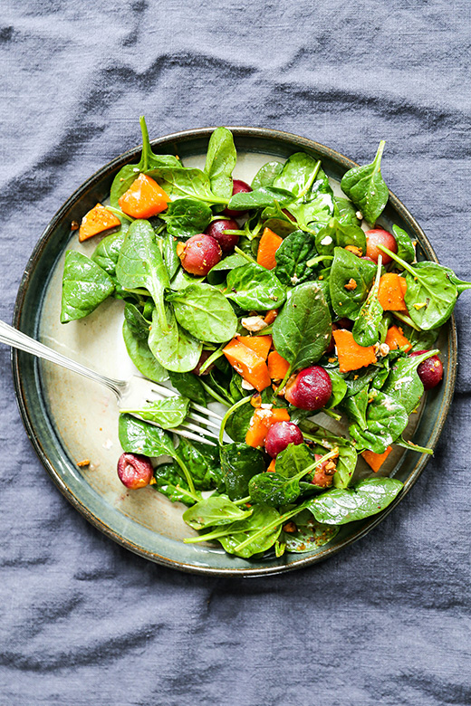 Warm Spinach Salad with Roasted Grapes and Sweet Potatoes | www.floatingkitchen.net
