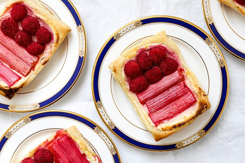 Rhubarb Raspberry Cream Cheese Breakfast Pastries | www.floatingkitchen.net