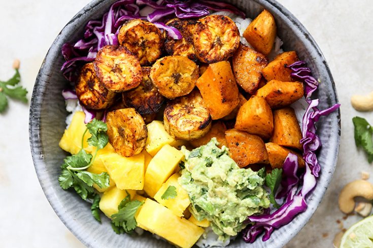 Roasted Plantain and Sweet Potato Rice Bowls