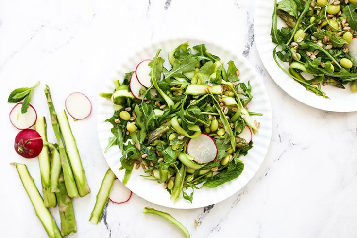 Shaved Asparagus and Arugula Salad with Farro and Edamame