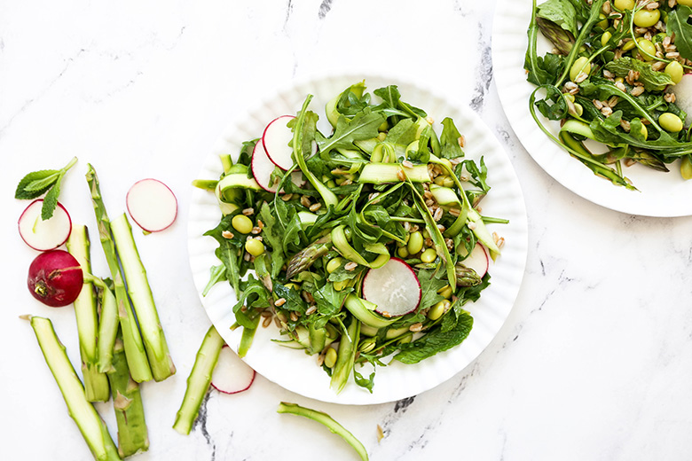 Shaved Asparagus and Arugula Salad with Farro and Edamame | www.floatingkitchen.net