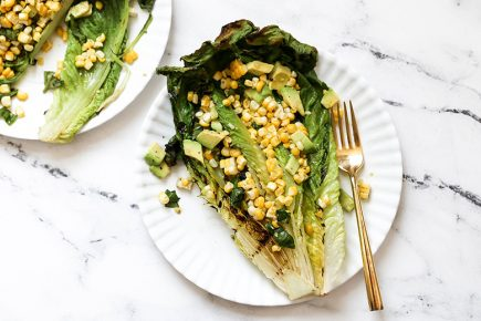 Grilled Romaine Salad with Corn and Avocado | www.floatingkitchen.net