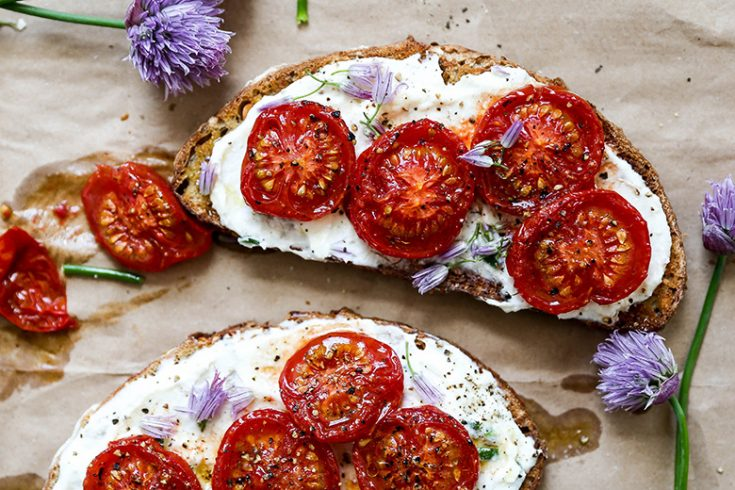 Chive Ricotta Toast with Slow Roasted Tomatoes