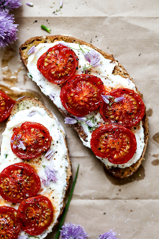 Chive Ricotta Toast with Slow Roasted Tomatoes | www.floatingkitchen.net