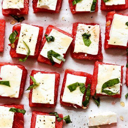 Watermelon Feta Bites with Basil and Hot Honey | www.floatingkitchen.net