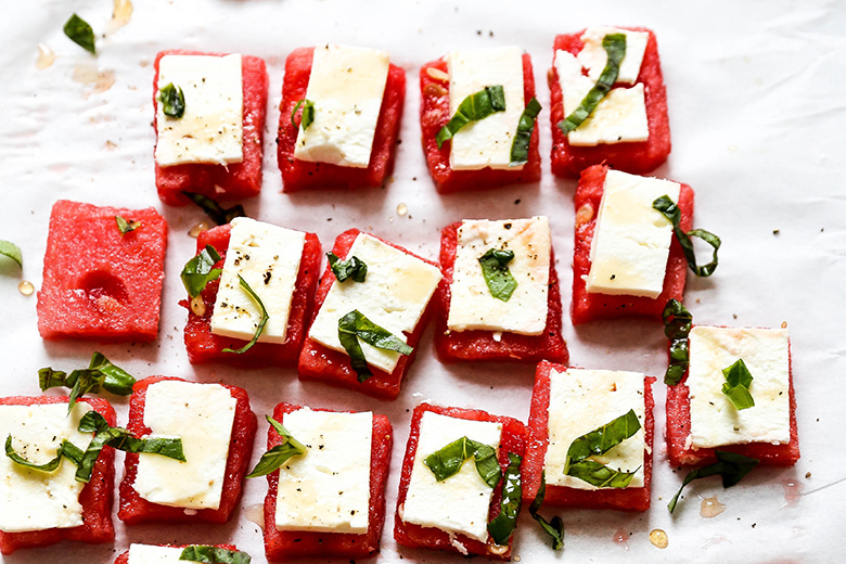 Watermelon Feta Bites with Basil and Hot Honey   www.floatingkitchen.net