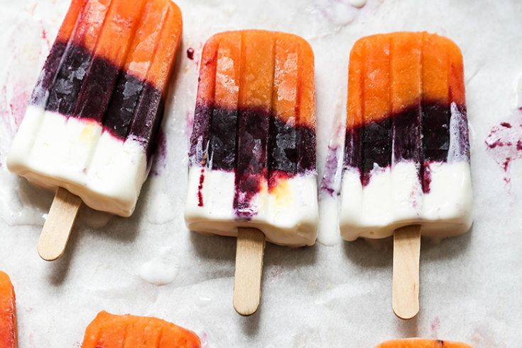 Fresh Peach, Blueberry and Vanilla Layered Popsicles