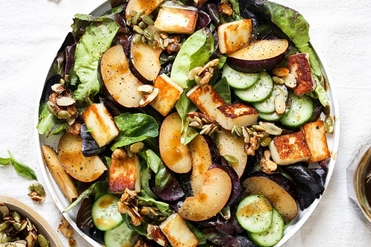 Plum and Fried Halloumi Salad with Maple-Nut Clusters