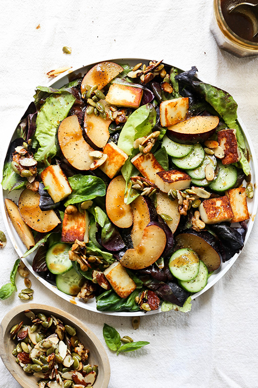 Plum and Fried Halloumi Salad with Maple-Nut Clusters | www.floatingkitchen.net