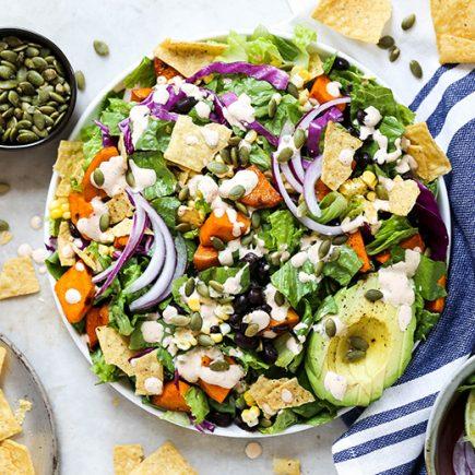 Smoky Sweet Potato Taco Salad | www.floatingkitchen.net